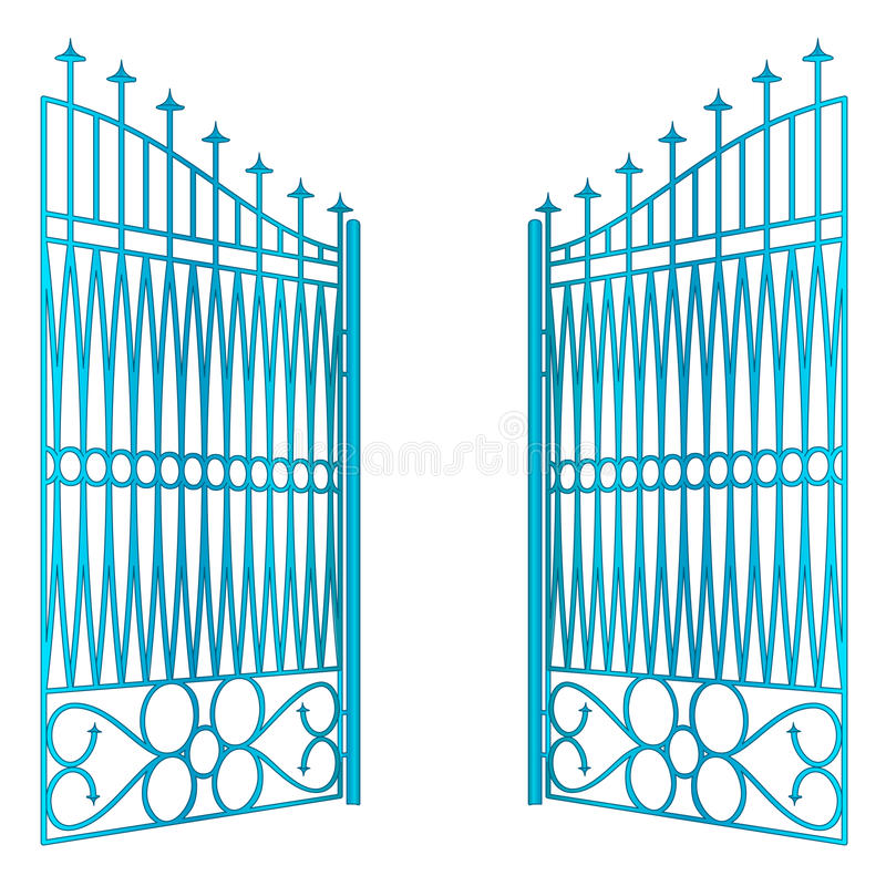 Isolated open blue iron gate fence vector vector illustration
