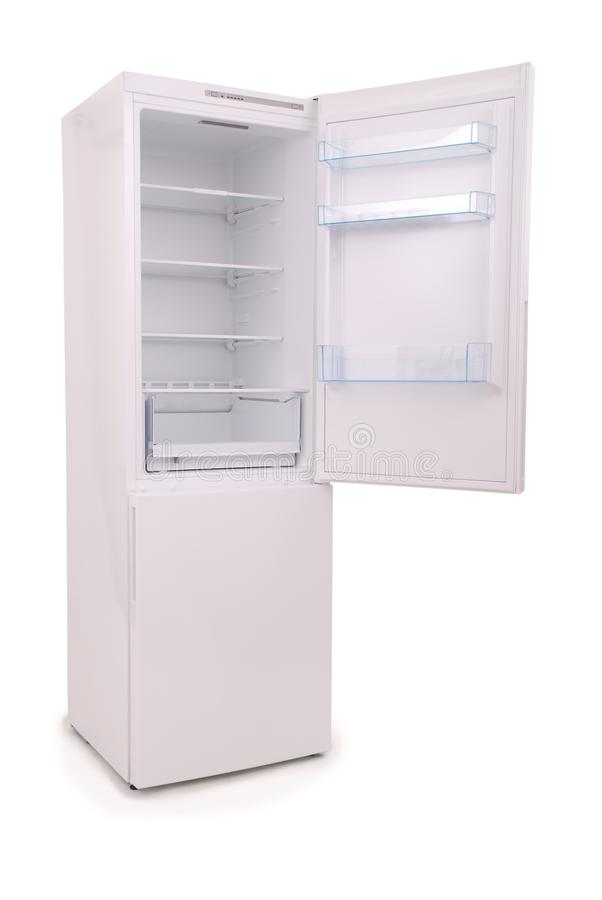 Isolated opened empty refrigerator Clipping path stock images
