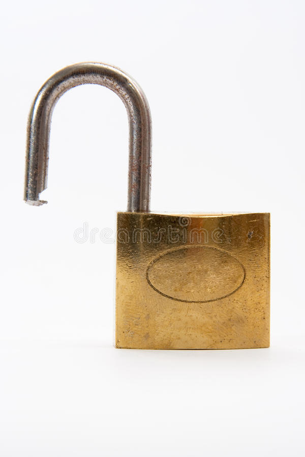 Isolated opened lock stock photography