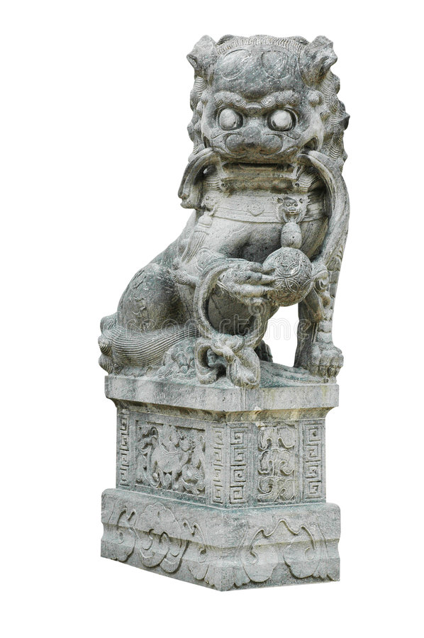 Isolated Oriental Lion Carving Statue. Isolated traditional oriental chinese lion statue with clipping path stock images