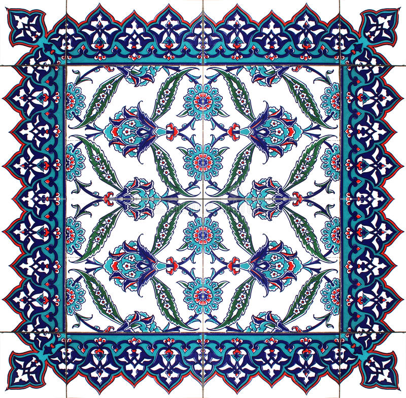 Isolated Oriental Tile Floral Pattern Ornament stock images
