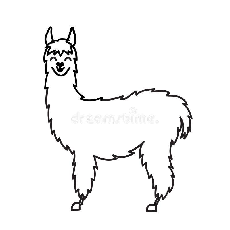 isolated outline cartoon baby llama stock vector illustration of hand  illustration 105063156 alpaca clipart free alpaca clipart black and white