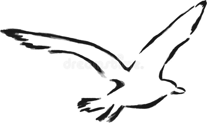Isolated Outline Seagull Stock Illustration Illustration