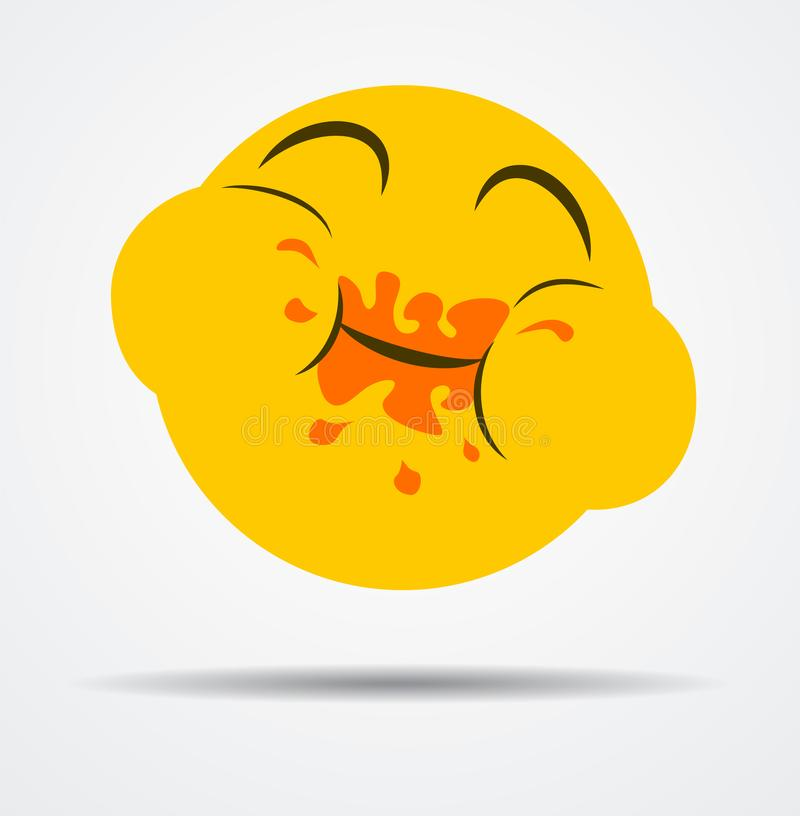 Isolated Overeating emoticon in a flat design royalty free stock photo