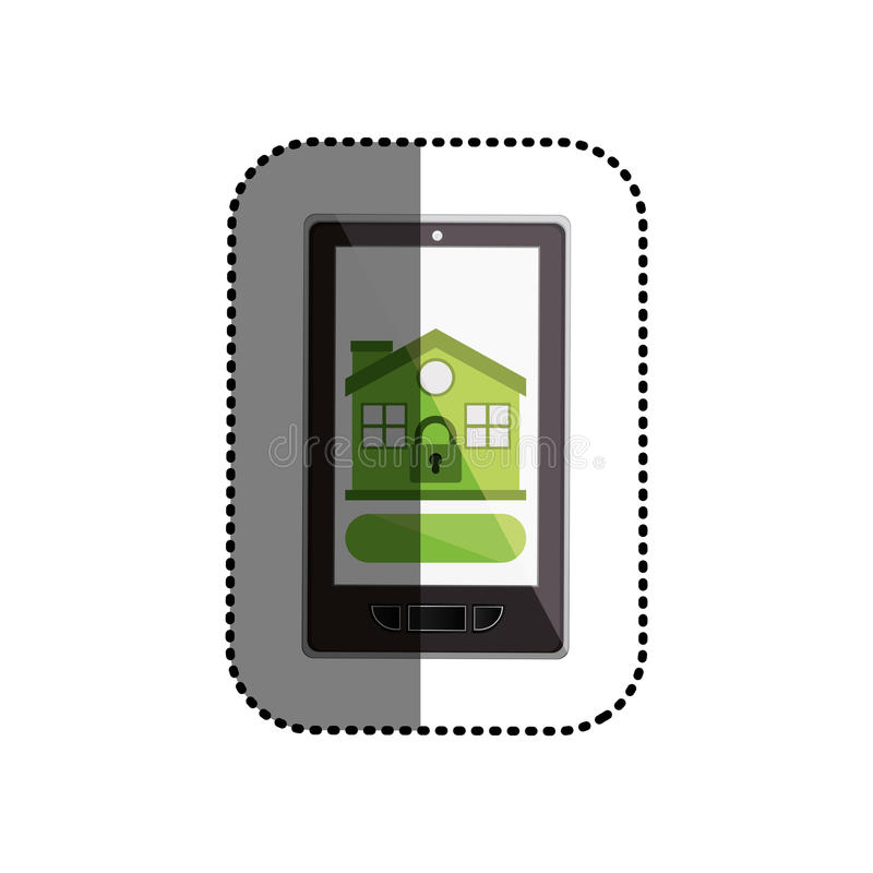 Isolated padlock and house inside smartphone design. Padlock and house inside smartphone icon. Insurance security protection and safety theme. Isolated design stock illustration