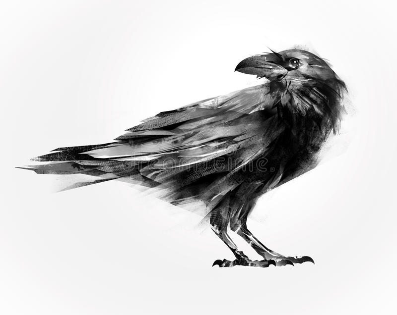 Isolated painted sitting bird raven stock image