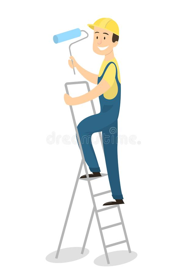 Painter on ladder. Isolated painter with paint roller standing on ladder on white background vector illustration