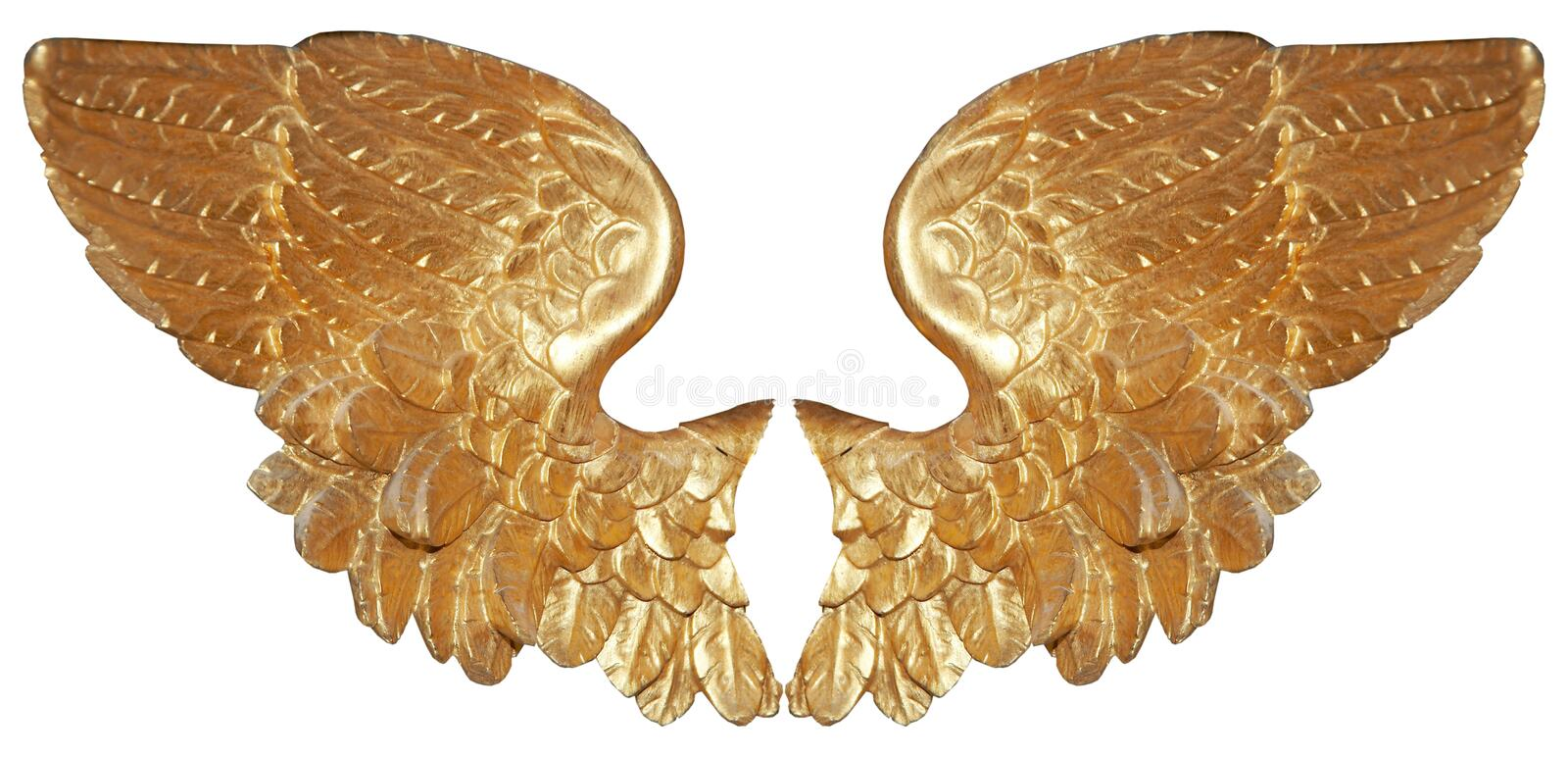 Isolated pair of aureate angel wings stock photo