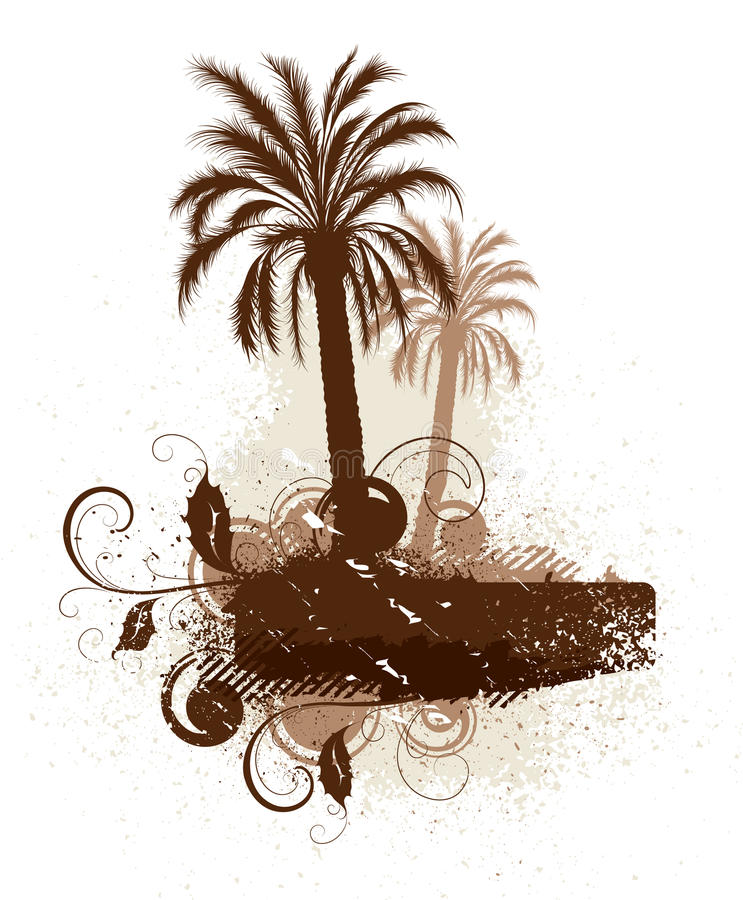 Isolated palm trees and leaves vector illustration