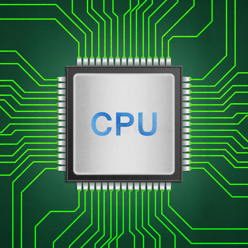 isolated paper cut of cpu chip on green circuit is central processor technology in circuit computer on motherboard vector illustration