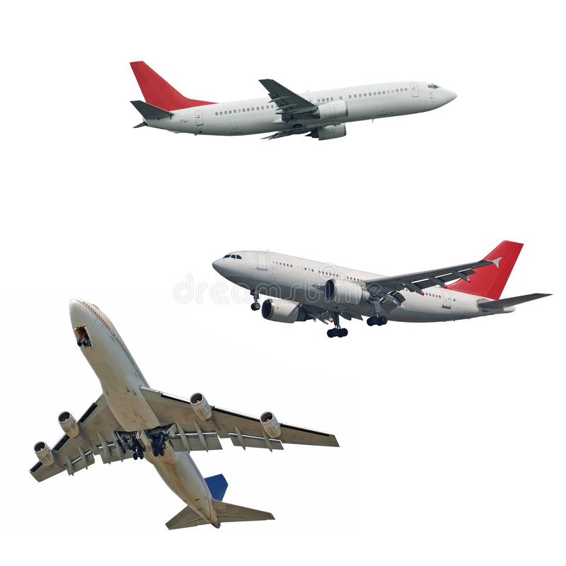 Isolated passenger jets. Three different type passenger jets, in three different positions, cleaned from all text and marks, isolated on white stock photo