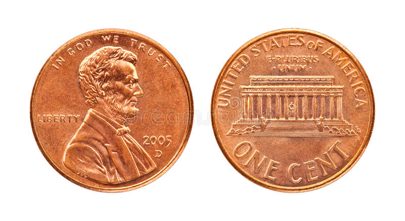 Isolated penny. Isolated both side of the penny in white background