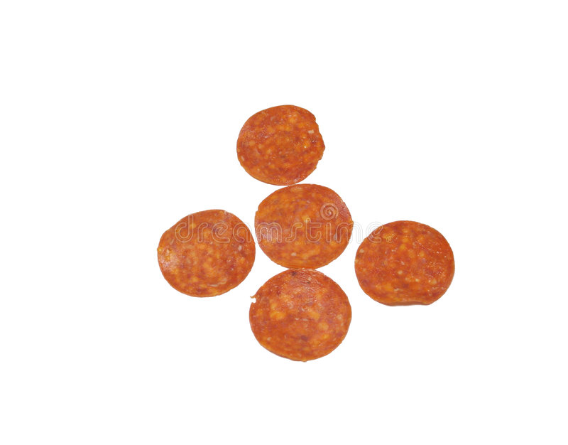 Isolated pepperoni. On white royalty free stock image