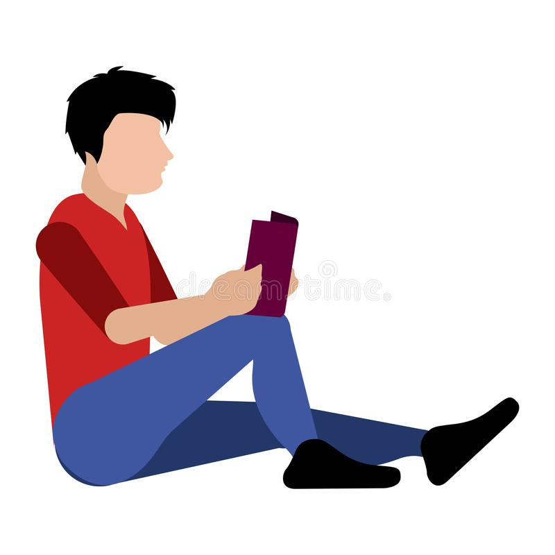 Isolated person reading a book icon vector illustration