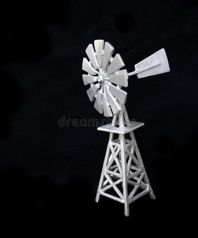 Download Isolated Pewter Windmill On Black Background. Stock Image - Image of agriculture, power: 39506887