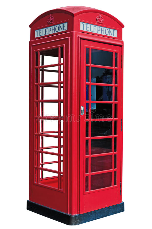 Isolated phone. A classic London Phone booth stock image