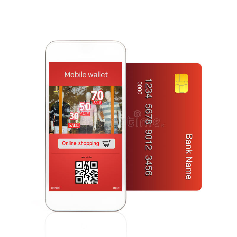 Download Isolated Phone Makes Online Purchase With Credit Card Stock Photo - Image: 38495604