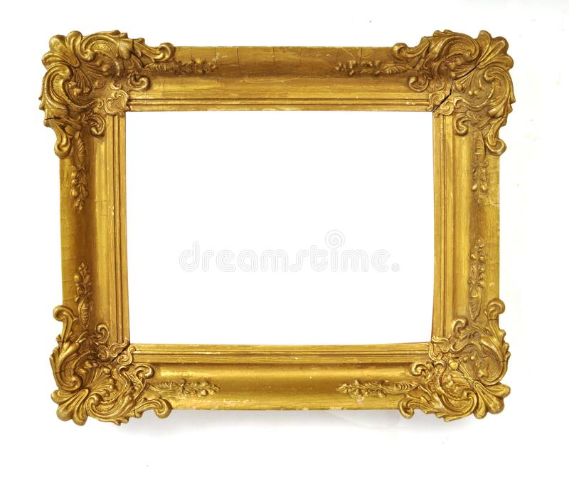 Isolated Photo Frame, Little Golden Antique Photo Frame, Vintage Frame stock photography