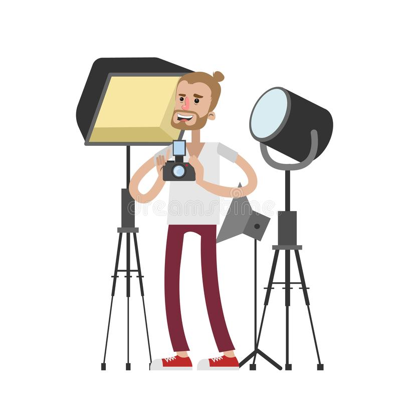 Isolated photographer with equipment. royalty free illustration