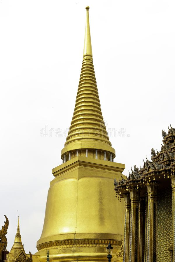 Isolated Phra Sri Rattana Chedi in Wat Phra Kaew or name officially as Wat Phra Si Rattana Satsadaram.  stock photography