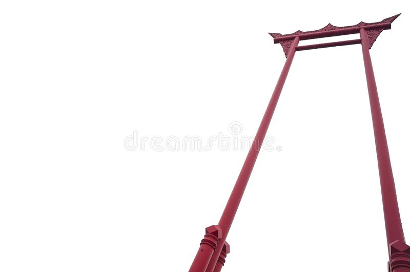 Isolated picture of The Brahmin Swing. Or The Giant Swing, Thai language is `Sao Ching Cha stock photo