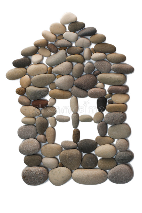 Isolated picture of a house from a pebble stock photography