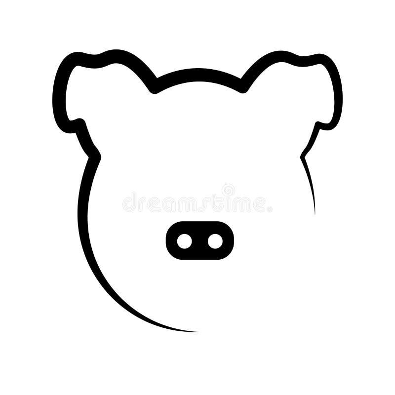Pig head outline. Isolated pig head outline. Vector illustration design stock illustration