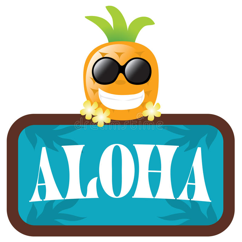 Isolated Pineapple with Aloha Sign vector illustration