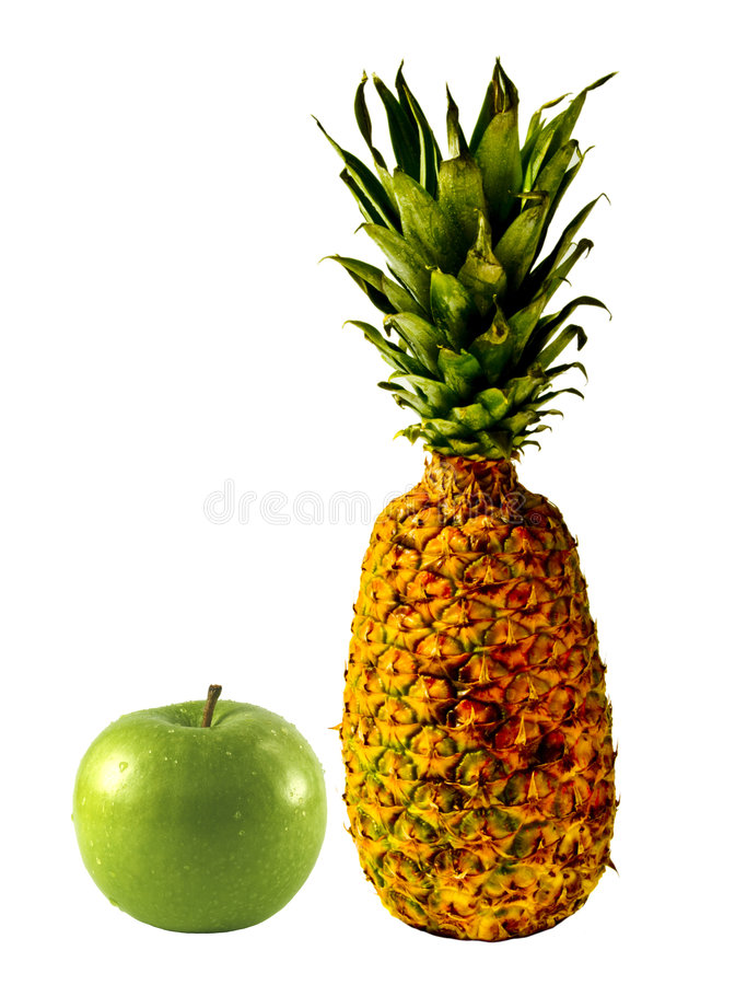 Isolated Pineapple and Apple royalty free stock photo