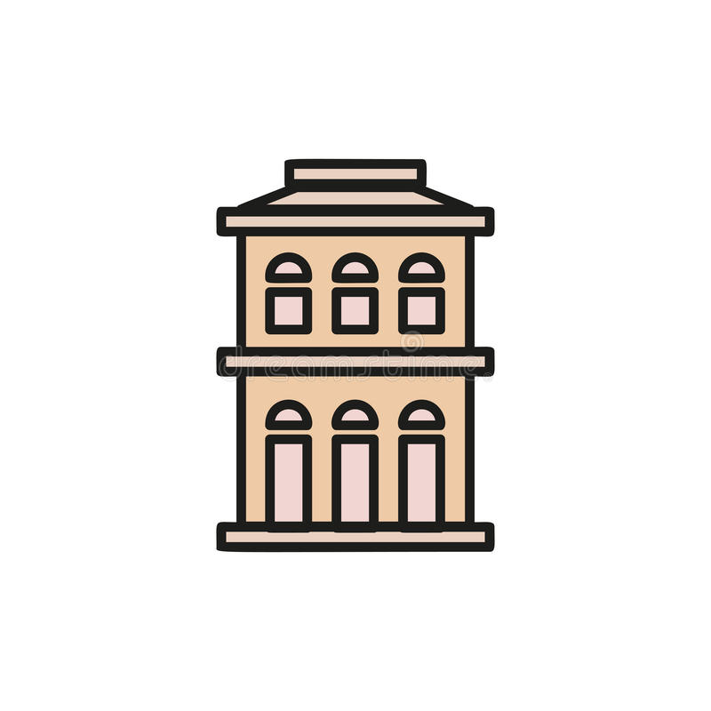 Isolated pink color low-rise municipal house in lineart style icon, element of urban architectural building vector stock illustration