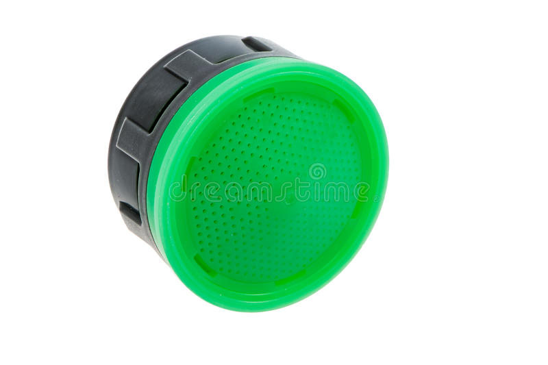 Isolated plastic faucet aerator. Isolated faucet aerator for saving water stock image