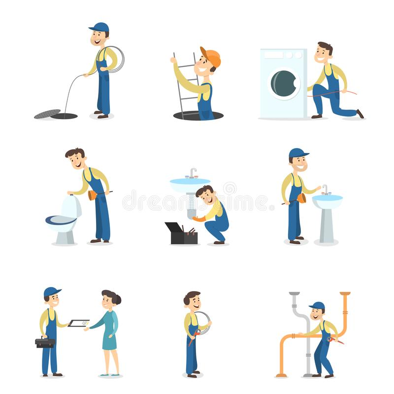 Plumber man set. royalty free illustration