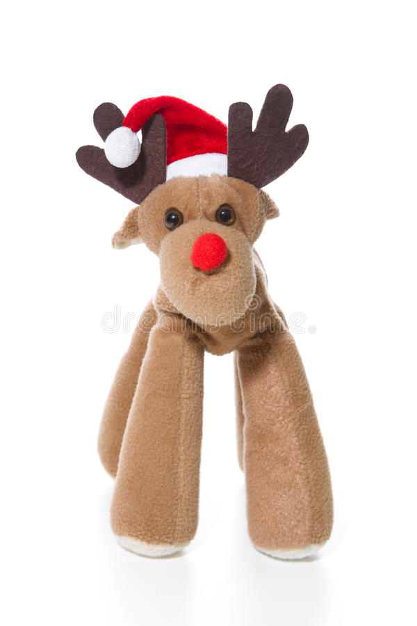 Isolated plush reindeer or elk with a santa or christmas hat. For decoration stock images