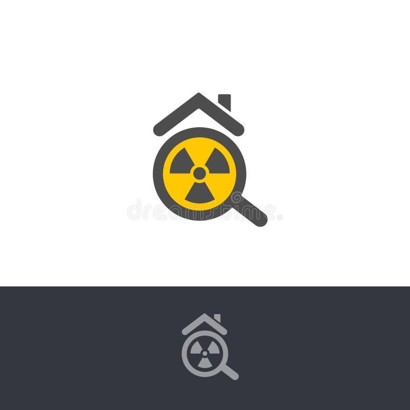 Free Isolated Poisonous Radon Contamination, Chemical Element Logo. Radioactive Building, House Caution Icon. Radium Stock Photo - 182819360