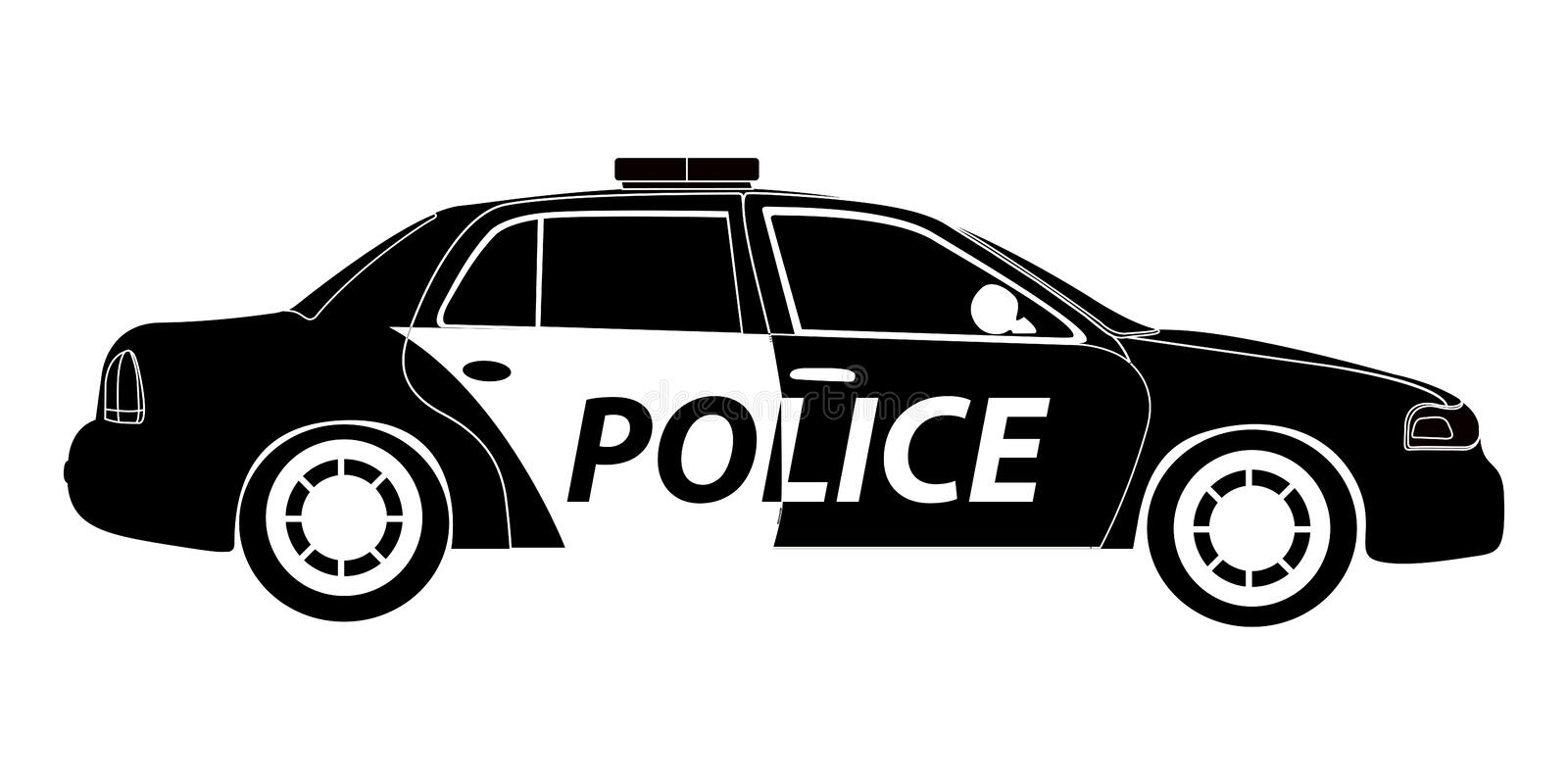 Isolated Police Car Silhouette Stock Vector - Illustration of modern, generated: 93510379