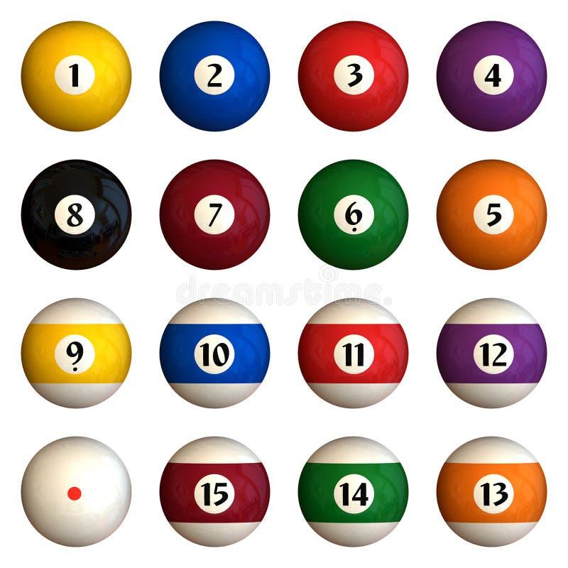 Isolated pool balls stock illustration