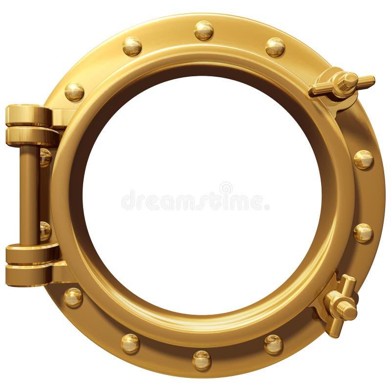 Isolated porthole. Illustration of a bronze ship porthole isolated on white