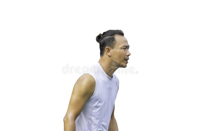 Isolated Portrait Asian man exercise sweat shirt wet on a white background with clipping path stock photography