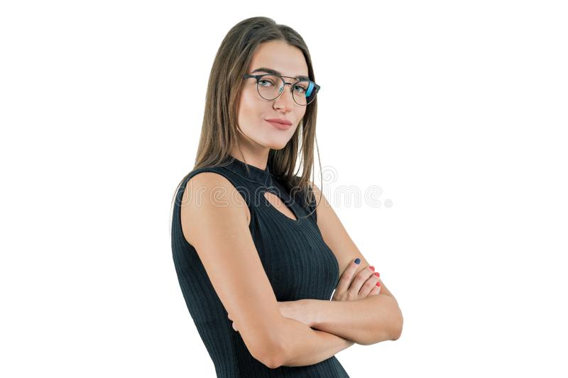 Isolated portrait of business woman with arms crossed stock images