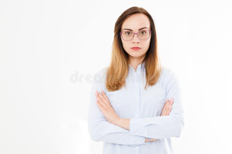 Isolated portrait of business woman, girl with glasses and crossed arms.Confident young manager. Copy space stock image