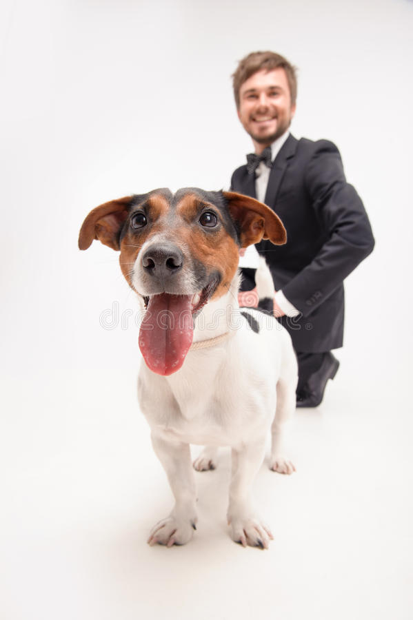 Isolated portrait of owner with his dog royalty free stock photo