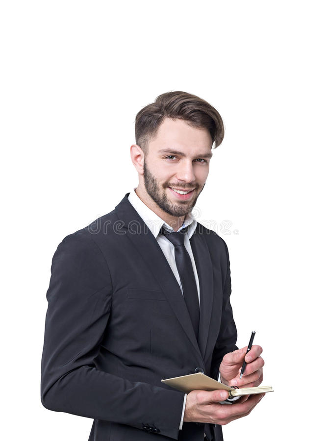 Isolated portrait of a smiling bearded businessman royalty free stock photos
