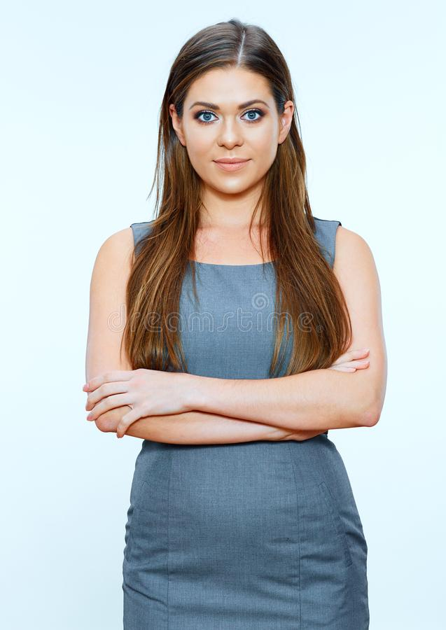 Isolated portrait of smiling successful business woman stock images