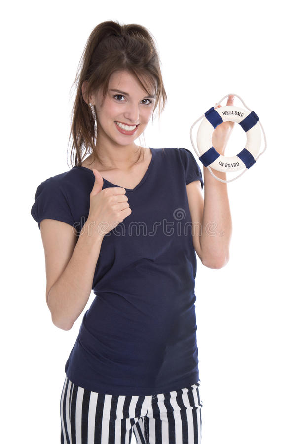 Isolated pretty smiling woman in navy style with lifebelt. Isolated pretty smiling woman in navy style with lifebelt in her hands stock images