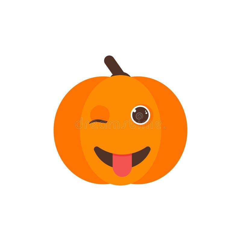 Halloween Pumpkin Character Winking Stock Vector