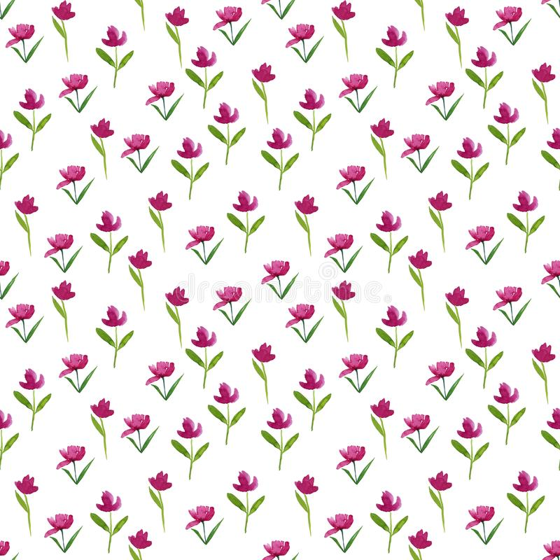 Isolated purple tulip with leaves watercolor painted in seamless pattern on white background. artwork is for background stock illustration