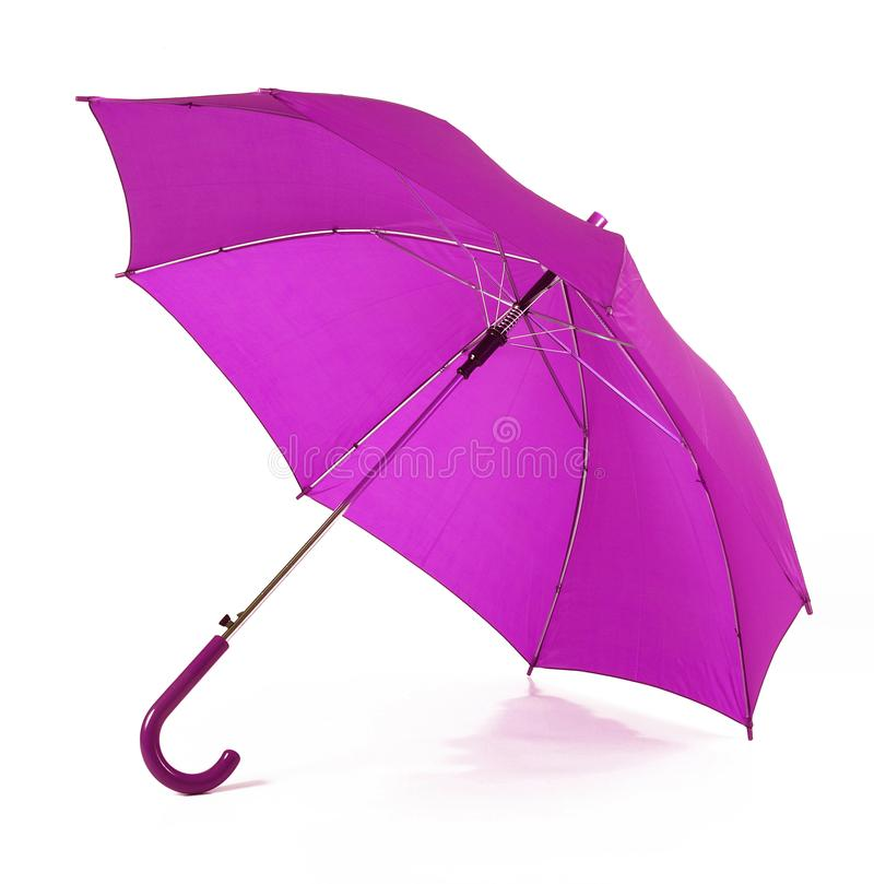 Isolated purple umbrella in white background stock images