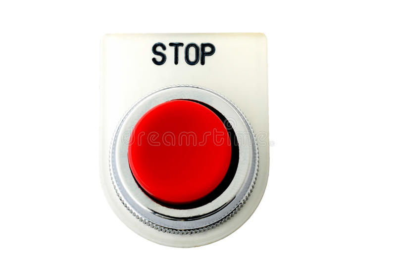 Isolated push button with stop faceplate stock images