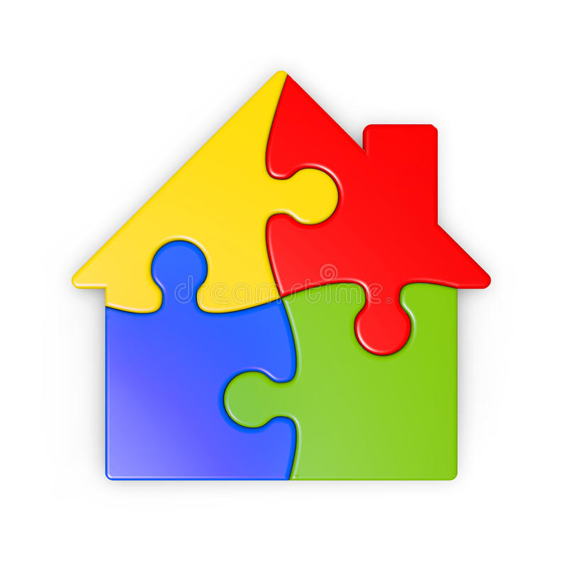 Isolated Puzzle Of A House With Clipping Path Royalty Free Stock Photos