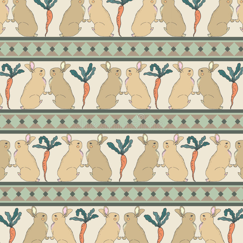 Isolated Rabbits with Carrots Retro Vintage Style Seamless Pattern Vector. royalty free illustration